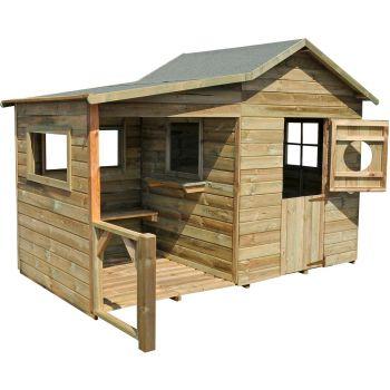 Cabane en bois traité pour enfant avec préau et banc - Hacienda