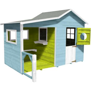 Caseta de madera tratada con cobertizo y banco para niños - Hacienda