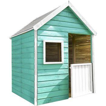 Caseta infantil de madera tratada con suelo y puerta - Marina