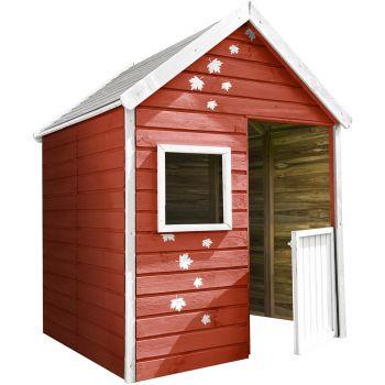 Caseta pequeña premontada de madera tratada con puerta para 3 niños - Maria