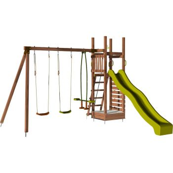 Aire de jeux pour enfant avec portique et mur d'escalade - HAPPY Swing & Climbing 150
