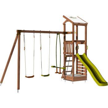Aire de jeux avec mur d'escalade et portique - HAPPY Swing & Climbing 120