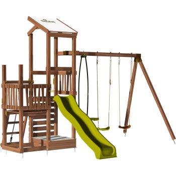 Aire de jeux 2 tours avec portique et mur d'escalade - FUNNY Swing & Climbing 120