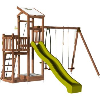 Aire de jeux pour enfant 2 tours avec portique et bac à sable - FUNNY Swing 150