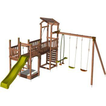 Aire de jeux pour enfant 3 tours avec pont et portique - CRAZY Bridge