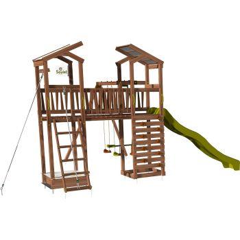 Aire de jeux pour enfant 2 tours avec pont et portique - FUNNY Swing & Bridge 150
