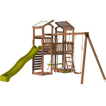 Aire de jeux pour enfant 2 tours avec portique et mur d'escalade - FUNNY Big Climbing