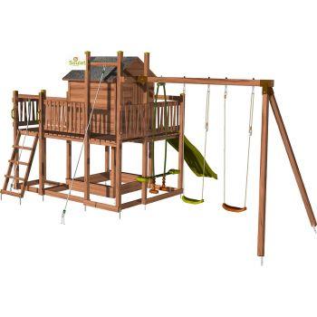 Aire de jeux pour enfant maisonnette avec portique et corde à grimper - COTTAGE HAPPY