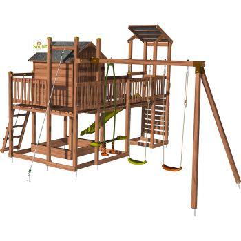 Speeltoren voor kinderen huisje met schommel en klimmuur– COTTAGE FUNNY