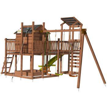 Aire de jeux pour enfant maisonnette avec portique et mur d'escalade - COTTAGE FUNNY