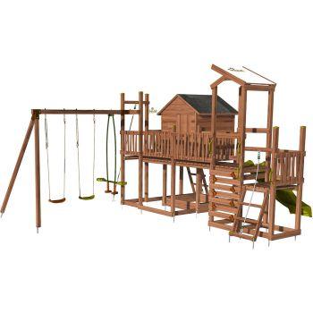 Aire de jeux pour enfant maisonnette avec mur d'escalade et corde à grimper - COTTAGE CRAZY