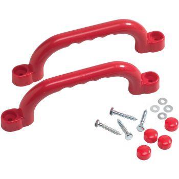 Set van rode kunststof klimgrepen - Voor speeltuinen en klimrekken – 250 x 75 mm