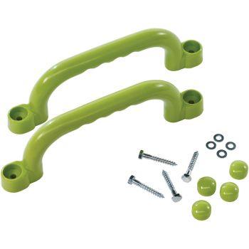 Juego de manijas de plástico verde – Para parque infantil y Marcos de escalada - 250 x 75 mm