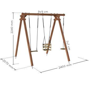 Portique en bois traité carré, eco-friendly 3 agrès - Ulysse