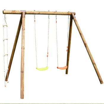 Portique en bois avec échelle et balançoire 3 agrès - Arthur