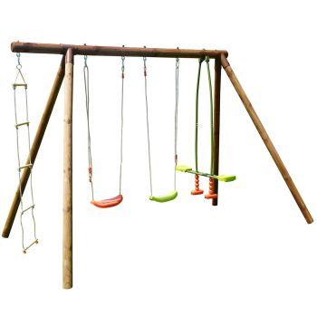 Grote houten schommel voor kinderen met 4 tuigen - Gabin
