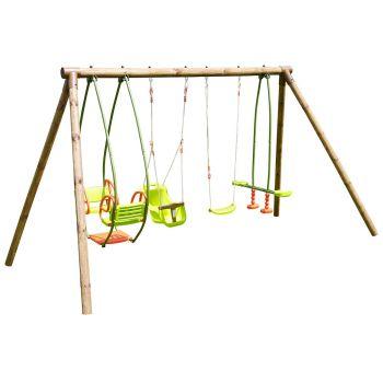 Portique en bois 4 agrès - de 6 mois à 12 ans-6 enfants-Suzanne