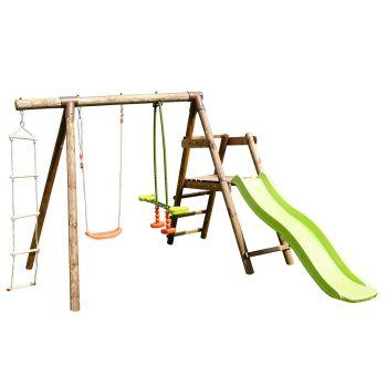 Station en bois traité pour enfant 3 agrès et toboggan - Mûrier