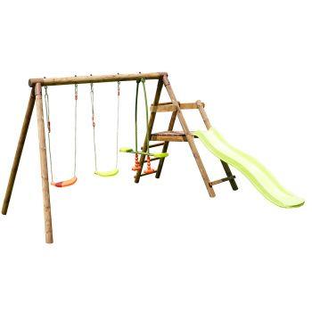 Houten speeltoestel voor kinderen met 3 schommels en glijbaan - Figue