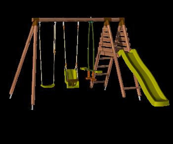 Station en bois avec portique 3 agrès et balançoire - Tulipe