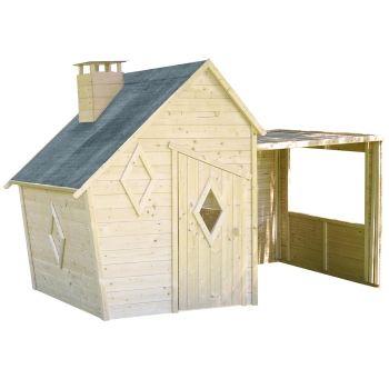 Cabaña infantil asimétrica de madera con pérgola - Erana