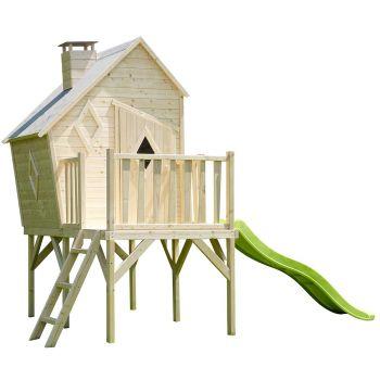 Maisonnette destructurée en bois pour enfants avec toboggan - Lully
