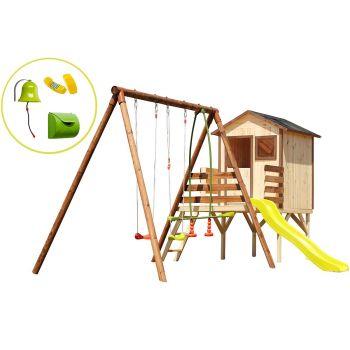 Groot speeltoestel hout met hut, glijbaan en accessoires kit Huis - Lynda