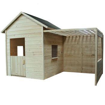 Houten hut met plankenvloer en prieel - Mimosa