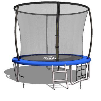 Outdoor trampoline groen met diameter 2,4m (8ft.) voor kinderen met veiligheidsnet + ladder + veiligheidsmat – Soulet