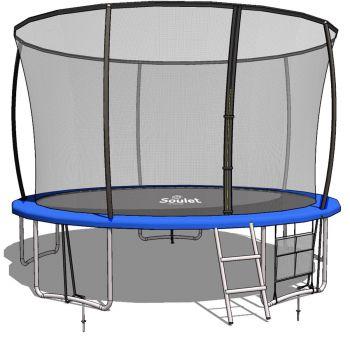 Trampoline Extérieur  Bleu diam. 3,66m ( 12FT) pour Enfants et adultes avec Filets + echelle+ renfort de protection-Soulet