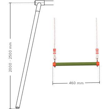 Trapecio de metal (aparato) para pórtico de madera 46 cm – Soulet