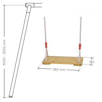 balançoire bois réglable 3,00m à 3,50m