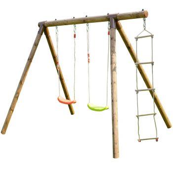 Dubbele houten schommel met touwladder – Tonka