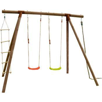 Portique en bois avec corde et échelle 4 agrès - Ernest