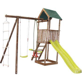 Aire de jeux en bois portique tour et toboggan - Libellule