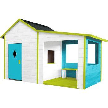Houten hut met patio en bankje voor kinderen – Amaryllis