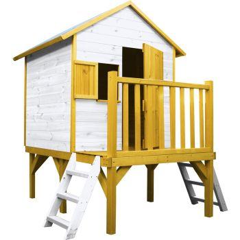 Cabaña de madera para niños sobre pilotes con dos escaleras - Iloa
