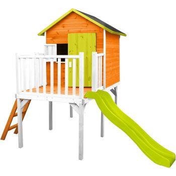 Houten paalhut voor kinderen met glijbaan – Charlotte