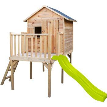 Cabane en bois pour enfant pilotis et toboggan - Charlotte